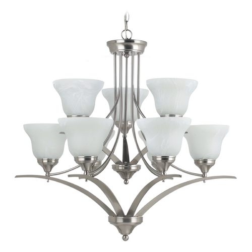 Sea Gull Lighting Chandelier with Alabaster Glass in Brushed Nickel Finish 31175-962