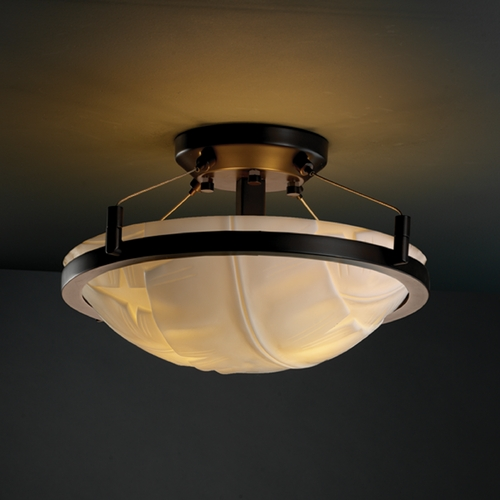 Justice Design Group Justice Design Group Porcelina Collection Semi-Flushmount Light PNA-9680-35-BANL-DBRZ