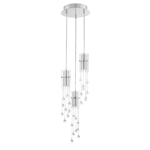 Lite Source Lighting Lite Source Tilden Chrome LED Multi-Light Pendant with Cylindrical Shade EL-10143