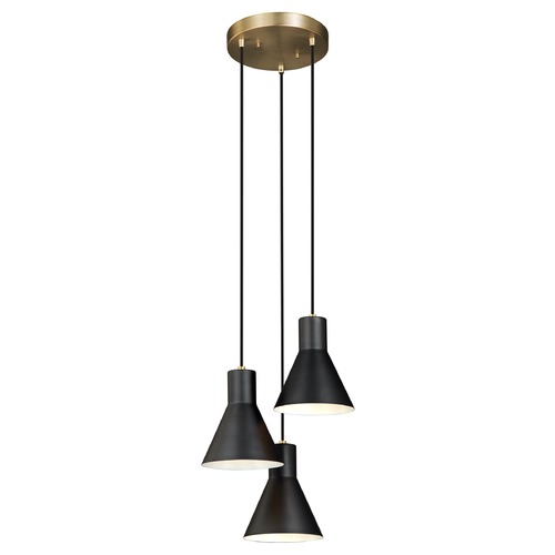 Sea Gull Lighting Sea Gull Lighting Towner Satin Bronze / Black Multi-Light Pendant with Conical Shade 5141303-848