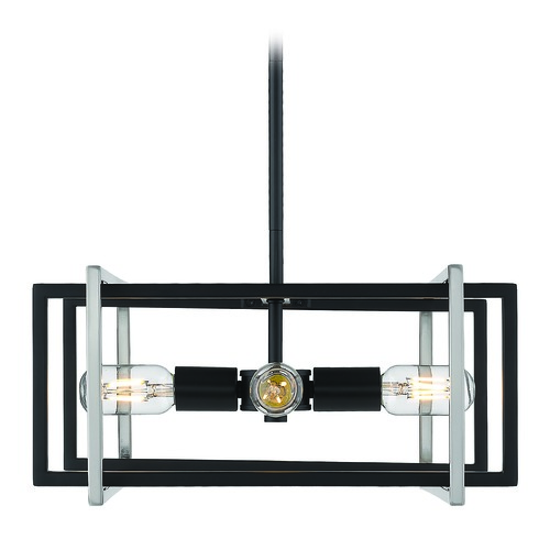 Golden Lighting Golden Lighting Tribeca Black Pendant Light 6070-4PBLK-PW