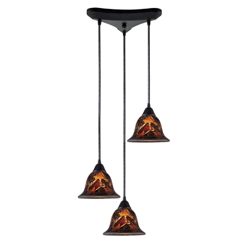 Elk Lighting Modern Multi-Light Pendant Light with Brown Glass and 3-Lights 10144/3FS