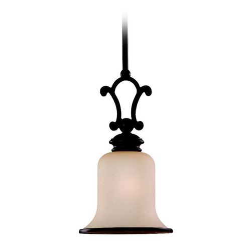 Sea Gull Lighting Mini-Pendant Light with Champagne Seeded Glass in Misted Bronze 61145-814