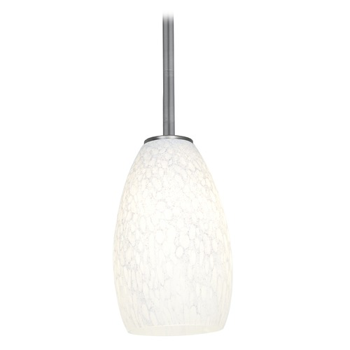 Access Lighting Modern Mini-Pendant Light with White Glass 28012-1R-BS/WHST