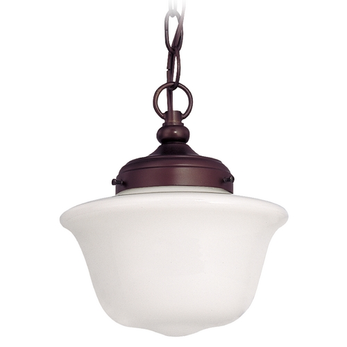 Design Classics Lighting Bronze 8-Inch Schoolhouse Mini-Pendant Light with Chain  FA4-220 / GD8 / A-220