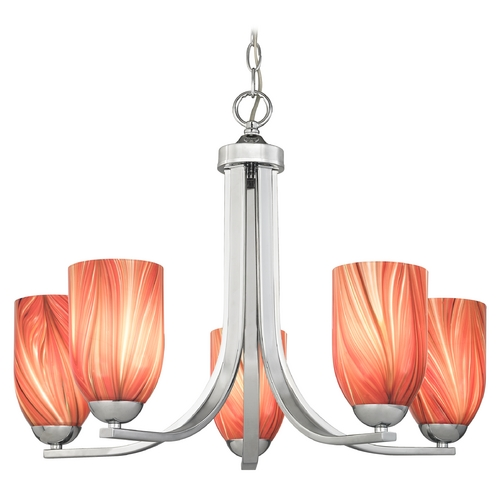 Design Classics Lighting Modern Chandelier with Red Glass in Polished Chrome Finish 584-26 GL1017D