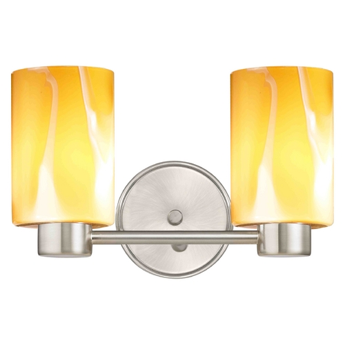 Design Classics Lighting Aon Fuse Contemporary Satin Nickel Bathroom Light with Butterscotch Cylinder Art Glass 1802-09 GL1022C
