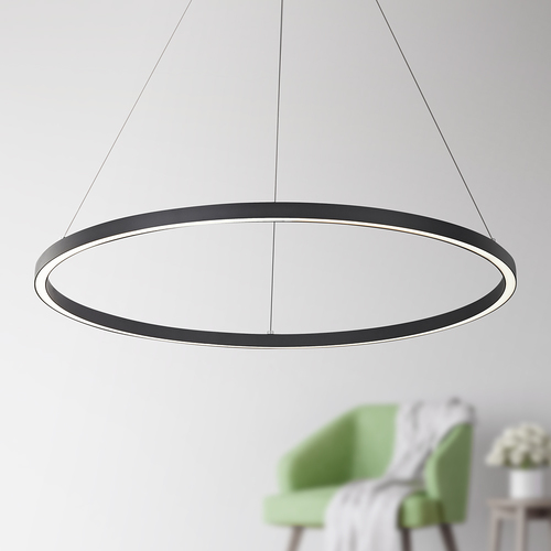 Design Classics Lighting Modern 32-Inch LED Ring Pendant Light Black Finish 1936-BK
