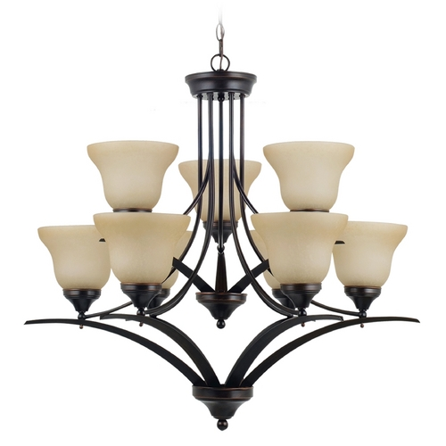 Sea Gull Lighting Chandelier with Amber Glass in Burnt Sienna Finish 31175BLE-710