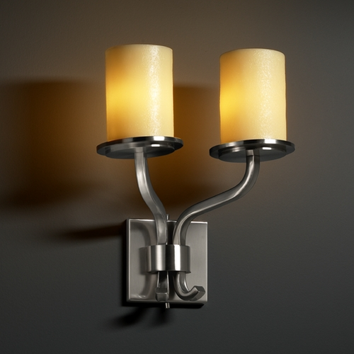 Justice Design Group Justice Design Group Candlearia Collection Sconce CNDL-8782-10-AMBR-NCKL