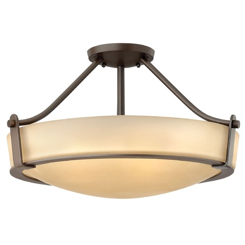 Hinkley Lighting Modern Semi-Flushmount Light with Amber Glass in Olde Bronze Finish 3221OB