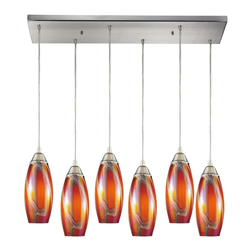 Elk Lighting Modern Multi-Light Pendant Light with Amber Glass and 6-Lights 10076/6RC-GI