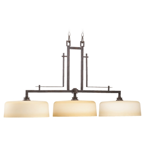 Quorum Lighting Quorum Lighting Prairie Toasted Sienna Island Light with Drum Shade 6533-3-44