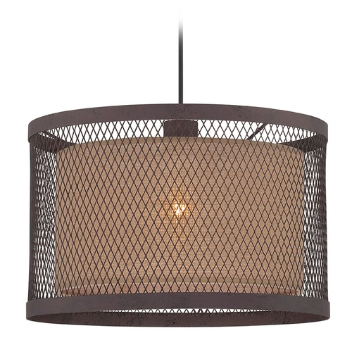 Lite Source Lighting Lite Source Aged Rust Pendant Light with Drum Shade LS-18797