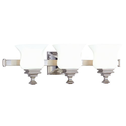 Hudson Valley Lighting Bathroom Light with White Glass in Polished Nickel Finish 5503-PN