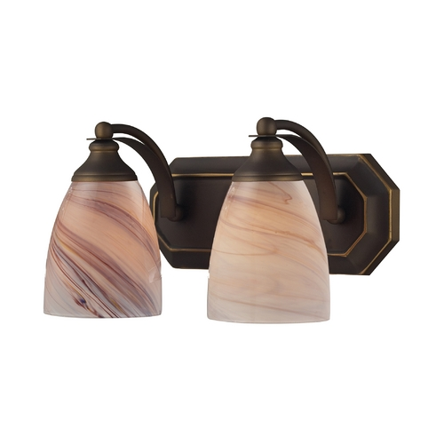 Elk Lighting Bathroom Light with Art Glass in Aged Bronze Finish 570-2B-CR