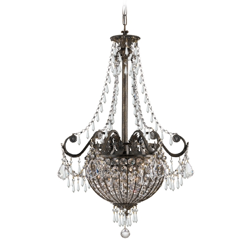 Crystorama Lighting Crystal Pendant Light in English Bronze Finish 5164-EB-CL-MWP