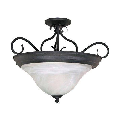 Nuvo Lighting Semi-Flushmount Light with Alabaster Glass in Textured Black Finish 60/384