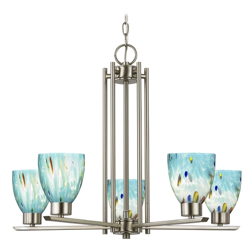 Design Classics Lighting Chandelier with Blue Art Glass in Satin Nickel - 5-Lights 1120-1-09 GL1021MB