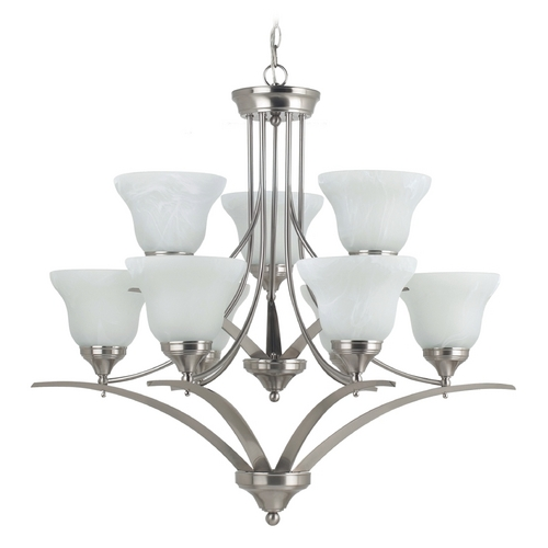 Sea Gull Lighting Chandelier with Alabaster Glass in Brushed Nickel Finish 31175BLE-962