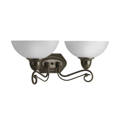 Progress Lighting Progress Bathroom Light with White Glass in Antique Bronze Finish P3270-20