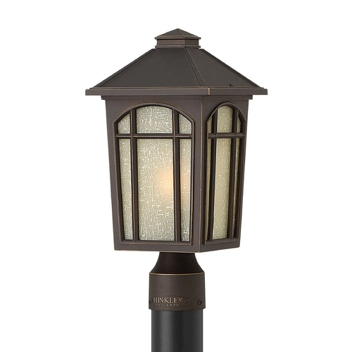 Hinkley Lighting Post Light with White Glass in Oil Rubbed Bronze Finish 1981OZ-GU24