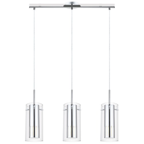 Eglo Lighting Eglo Pinto 1 Chrome Multi-Light Pendant with Cylindrical Shade 91327A