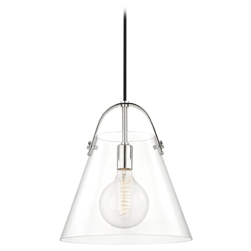 Mitzi by Hudson Valley Industrial Pendant Light Polished Nickel Mitzi Karin by Hudson Valley H162701L-PN