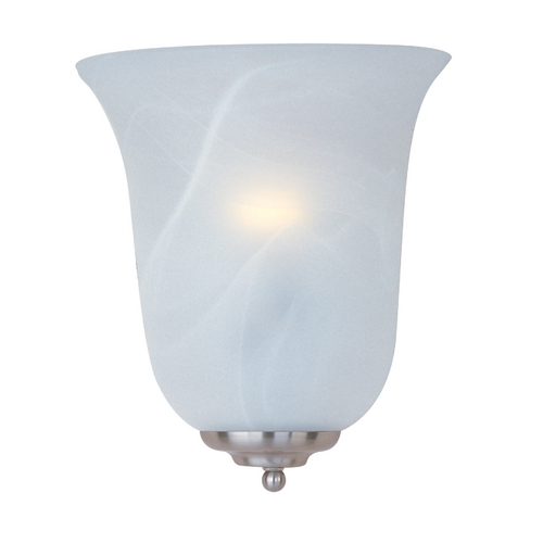Maxim Lighting Sconce Wall Light with White Glass in Satin Nickel Finish 20581MRSN