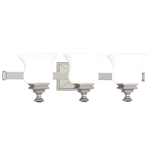 Hudson Valley Lighting Bathroom Light with White Glass in Satin Nickel Finish 5503-SN