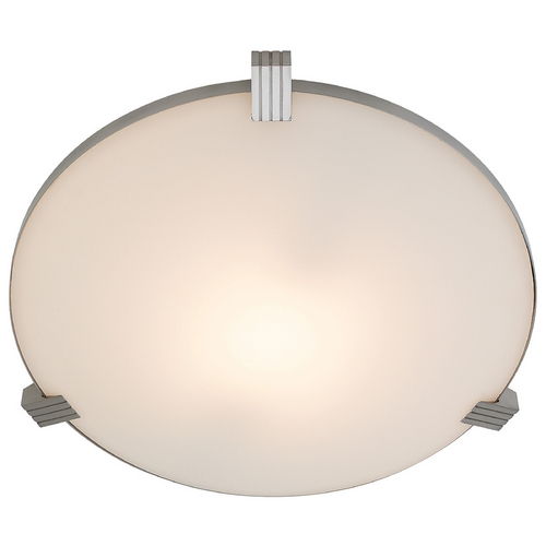 Access Lighting Modern Flushmount Light with White Glass in Brushed Steel Finish 50069-BS/WHT