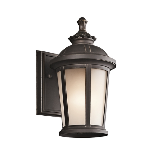 Kichler Lighting Kichler Outdoor Wall Light with White Glass in Rubbed Bronze Finish 49409RZ