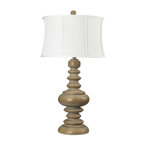 Dimond Lighting Table Lamp with White Shade in Bleached Wood Finish 93-9244