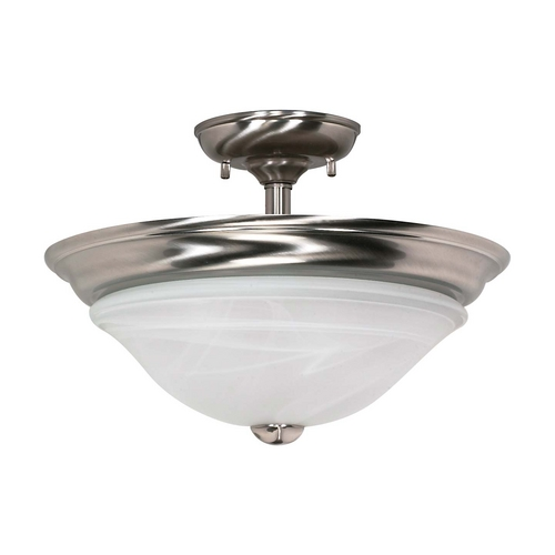 Nuvo Lighting Modern Semi-Flushmount Light with Alabaster Glass in Brushed Nickel Finish 60/464