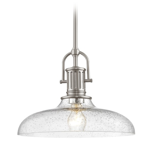 Design Classics Lighting Industrial Satin Nickel Seeded Glass Pendant Light 14-Inch Wide 1764-09 G1784-CS