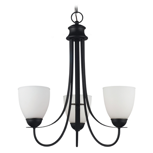 Sea Gull Lighting Mini-Chandelier with White Glass in Blacksmith Finish 31270-839