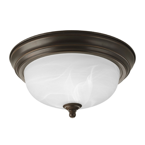 Progress Lighting Flushmount Light with Alabaster Glass in Antique Bronze Finish P3924-20EB