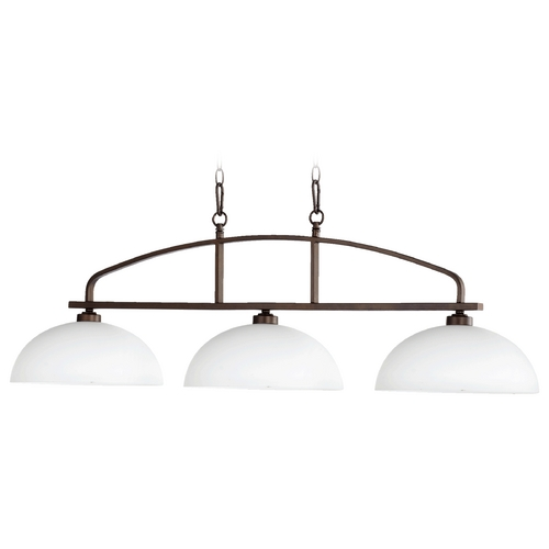 Quorum Lighting Quorum Lighting Reyes Oiled Bronze Island Light with Bowl / Dome Shade 6660-3-86