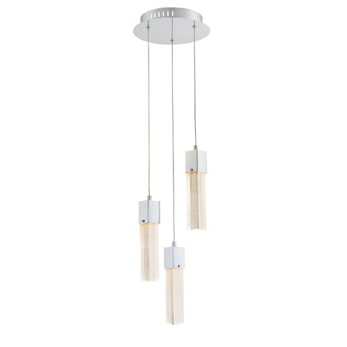 Lite Source Lighting Lite Source Totie Chrome LED Multi-Light Pendant with Rectangle Shade LS-19038