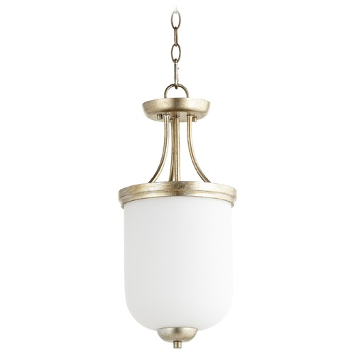 Quorum Lighting Quorum Lighting Enclave Aged Silver Leaf Pendant Light with Bowl / Dome Shade 2759-9-60