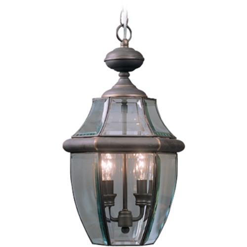 Quoizel Lighting Outdoor Hanging Light with Clear Glass in Medici Bronze Finish NY1178Z
