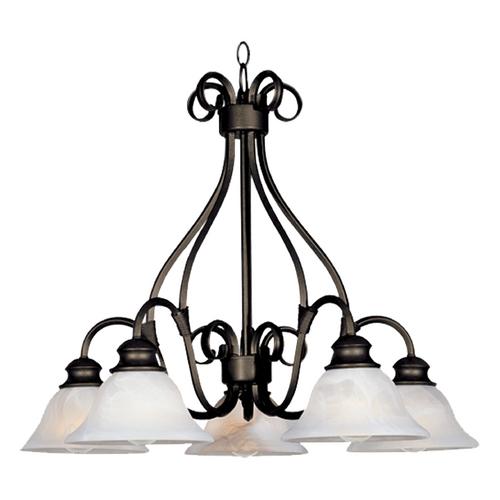 Maxim Lighting Chandelier with White Glass in Kentucky Bronze Finish 2657MRKB