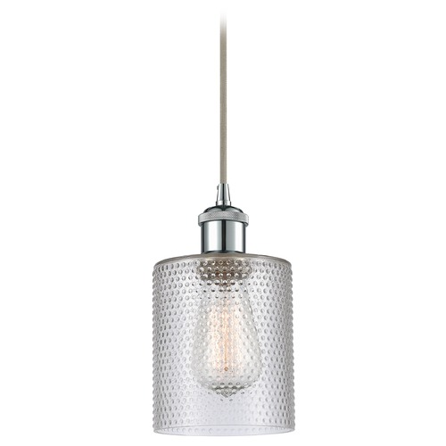 Innovations Lighting Innovations Lighting Cobbleskill Polished Chrome Mini-Pendant Light with Cylindrical Shade 516-1P-PC-G112