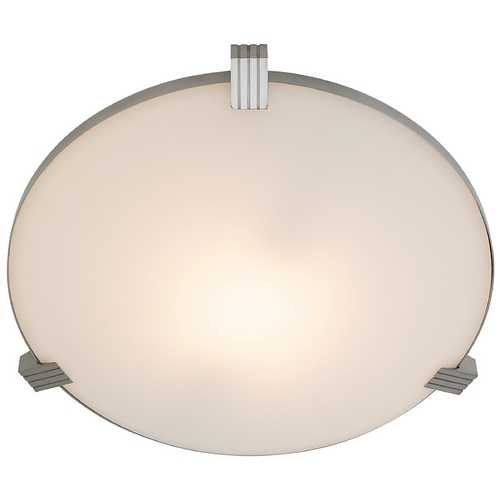 Access Lighting Modern Flushmount Light with White Glass in Brushed Steel Finish 50070-BS/WHT