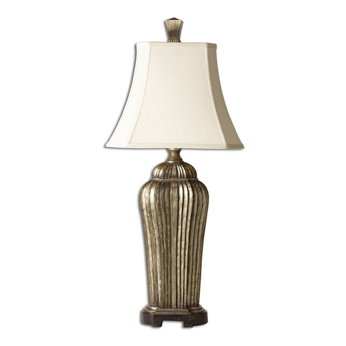 Uttermost Lighting Table Lamp with White Shade in Antique Silver Leaf Finish 27222