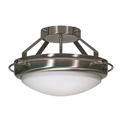 Nuvo Lighting Modern Semi-Flushmount Light with White Glass in Brushed Nickel Finish 60/492
