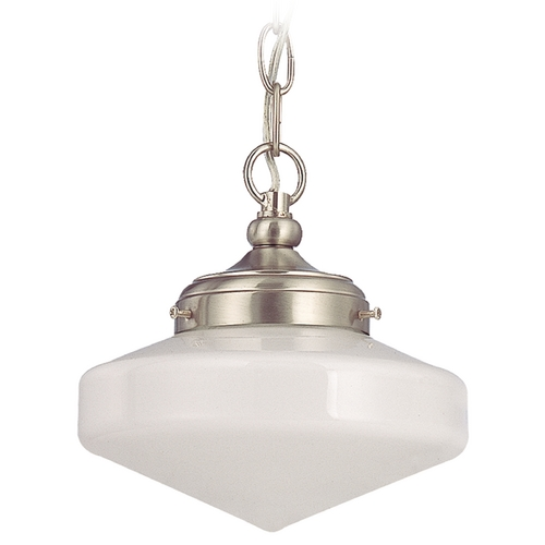 Design Classics Lighting 8-Inch Schoolhouse Mini-Pendant Light with Opal White Glass FA4-09 / GE8 / A-09