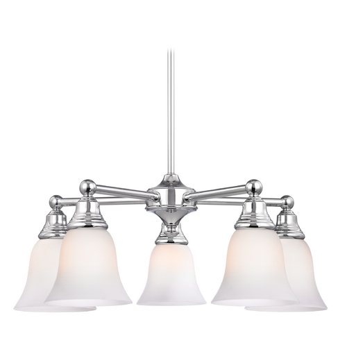 Design Classics Lighting Chrome Chandelier with White Bell Glass and Five Lights 597-26 GL9222-WH