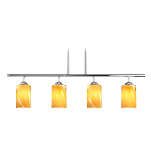 Design Classics Lighting Modern Island Light with Butterscotch Art Glass in Chrome Finish 718-26 GL1022C
