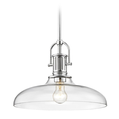 Design Classics Lighting Industrial Chrome Pendant Light with Clear Glass 14-Inch Wide 1764-26 G1784-CL